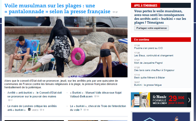 journal le monde burkini